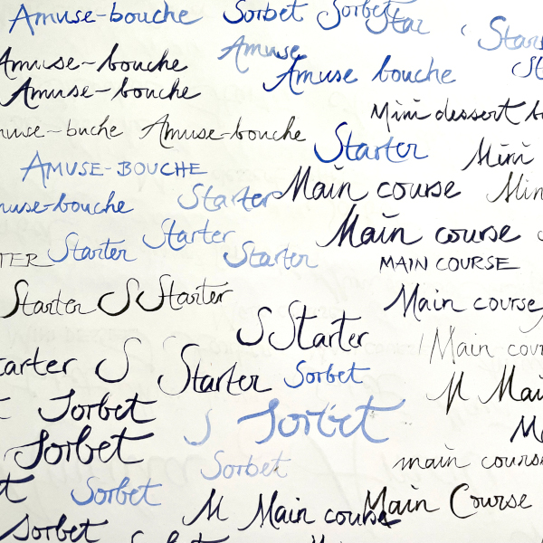 Kalligrafie-Menuekarte