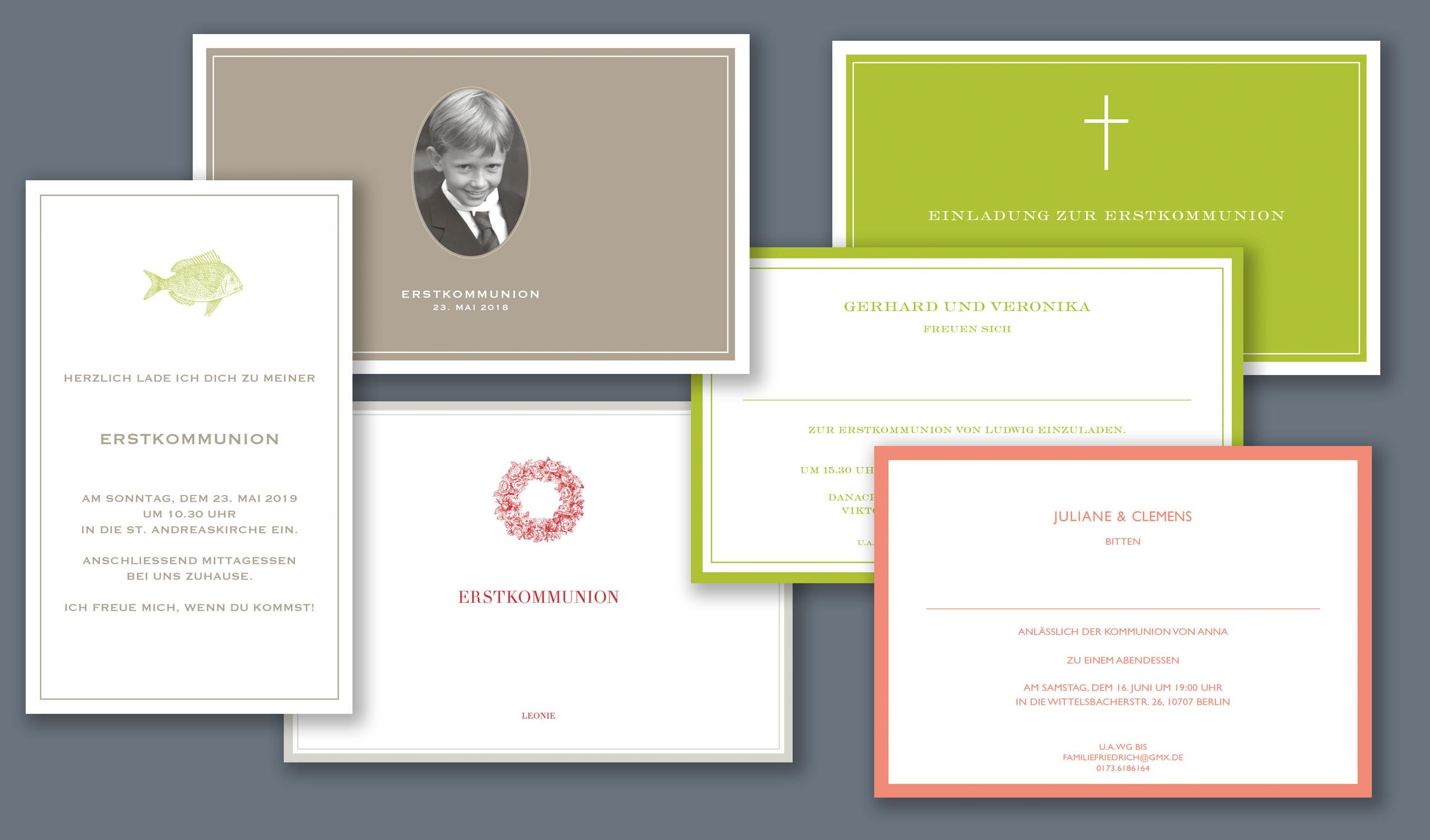 Exklusive Einladungen zur Erstkommunion bestellen